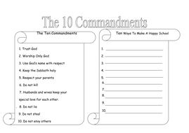 sunday school lesson on 10 commandments