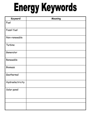 set of energy resources worksheets by physics teacher teaching resources tes. Black Bedroom Furniture Sets. Home Design Ideas