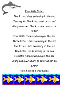 five little fishes swimming in the sea resources tes