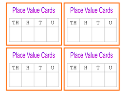 Place Value Cards and Mat