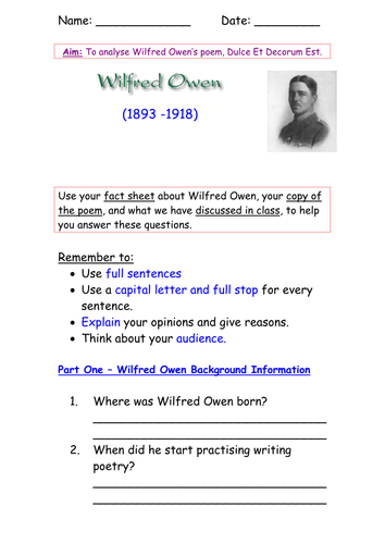Essay Analysis Of The Poem Dulce Et Decorum Est By Wilfred