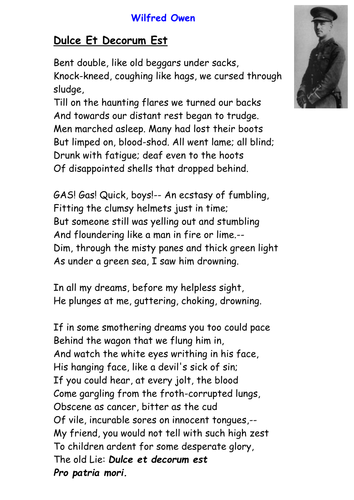 wilfred owen s war poems By nathan suhr-sytsma born in 1893 in oswestry, england, near the welsh border, wilfred owen was killed in battle on nov 4, 1918, a week before the first world war.