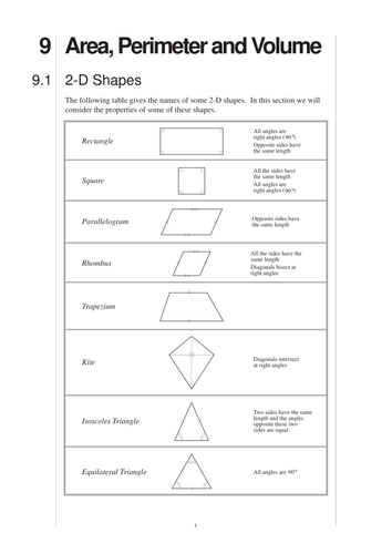 Area, Perimeter, Volume (MEP – Year 9 – Unit 9) by CIMT - Teaching ...