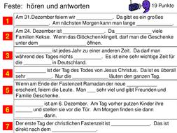Feste in Deutschland - listening
