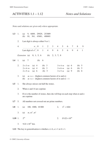 Indices, Index Notation (MEP – GCSE ) activities by CIMT ...