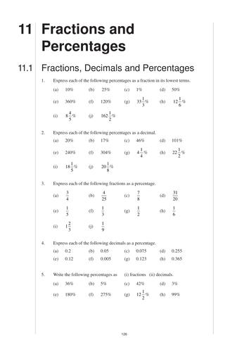 fractions and percentages mep gcse worksheet by cimt teaching resources tes. Black Bedroom Furniture Sets. Home Design Ideas
