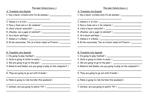 Near future worksheet by Rootsandwings Teaching Resources Tes – Future Tense Spanish Worksheet