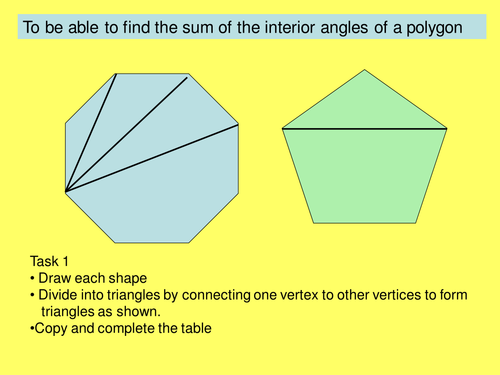 Sum Of Interior Angles Of Polygons By Jane Ch Teaching Resources Tes