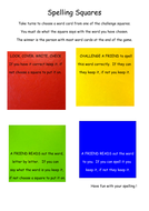 Spelling squares game