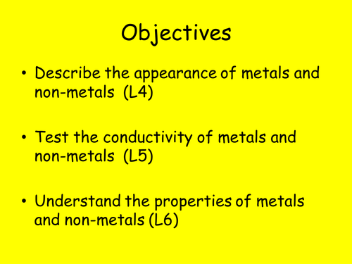 Metals and nonmetals by mba06ht Teaching Resources Tes – Properties of Metals and Nonmetals Worksheet