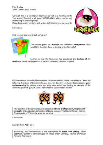 IGCSE 'Julius Caesar': Symbols Worksheet Handouts by ...