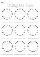 Printables Blank Clock Face Worksheet Printable blank clocks worksheet by simon h teaching resources tes telling the time sheet pdf
