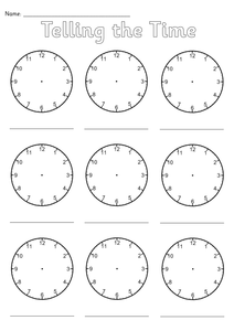 Telling The Time Sheet Pdf
