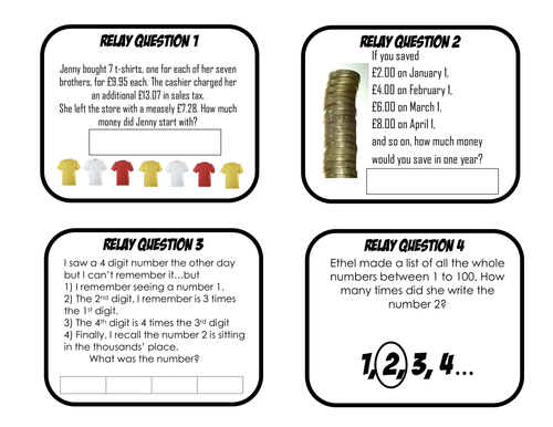 Maths Relay Races (Problem-solving Puzzles) by aap03102 - Teaching ...