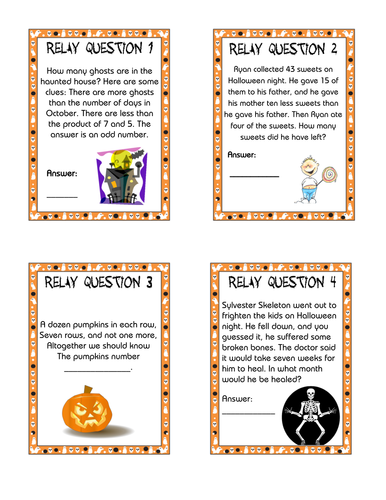 maths relay races problem solving puzzles by aap03102 teaching resources tes - Halloween Quiz For Kids