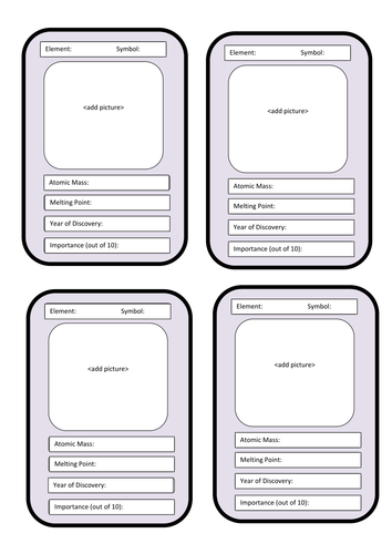 Elements Top Trumps by gideonlyons - Teaching Resources - TES