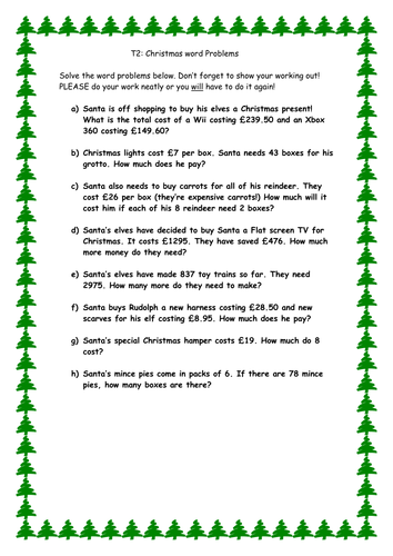 Christmas word problems by cleggy1611 - Teaching Resources - TES