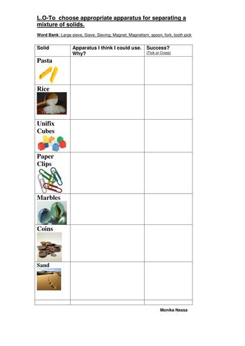 Separating Mixtures Year4 By Monnassa Teaching Resources