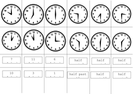 analogue o\'clock half past cut and stick by ptaylor - Teaching ...