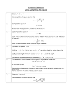 Completing the Square, Extension Questions - GCSE
