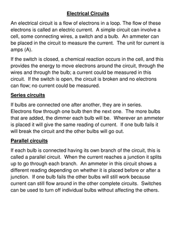 Electrical circuits cloze by bobfrazzle - Teaching Resources - Tes on electrical area classification, electrical troubleshooting, electrical data sheets, electrical symbols, electrical controls, electrical assembly, electrical books, wiring diagram, circuit design, electrical kits, function block diagram, electrical wiring, electrical conduit, electrical formulas, block diagram, digital electronics, electrical artwork, electrical calculations, electrical drawings, one-line diagram, electrical diagrams, electrical drafting, network analysis, electrical code, integrated circuit layout, electrical layouts, electrical box types and uses, electrical tools,