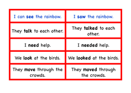Past and Present Tense - Small Group Activity