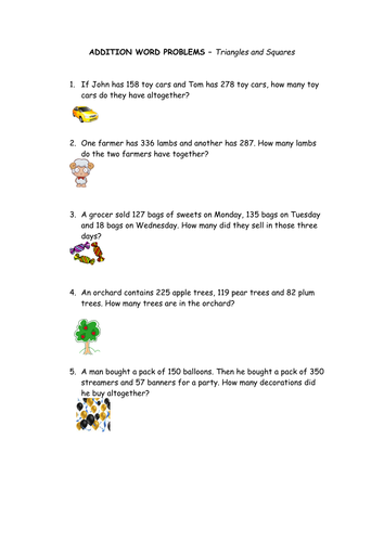 Addition Word Problems by RedRum10 - Teaching Resources - TES