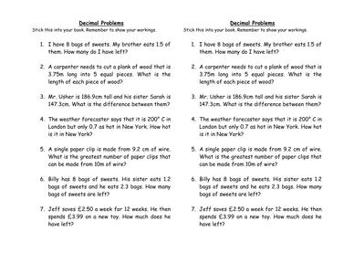 decimal word problems by uk teaching resources tes. Black Bedroom Furniture Sets. Home Design Ideas