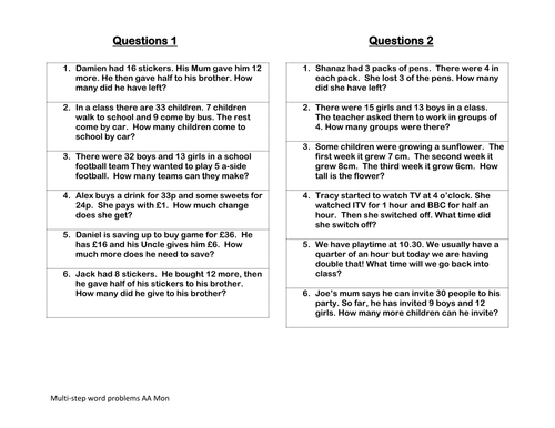 Multistep word problems by clairetunnicliffe Teaching – Multiple Step Word Problems Worksheets