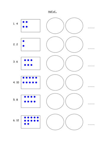 Halving Finding Half Of Differentiated Numbers 6073814 on Small Worksheets For Kindergarten