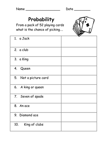 Probability worksheets-easy by Kicha - Teaching Resources - Tes