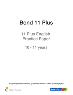 Bond 11 Plus English Practice