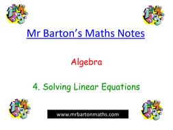 Notes Algebra 4 Solving Linear Equations By Mrbartonmaths