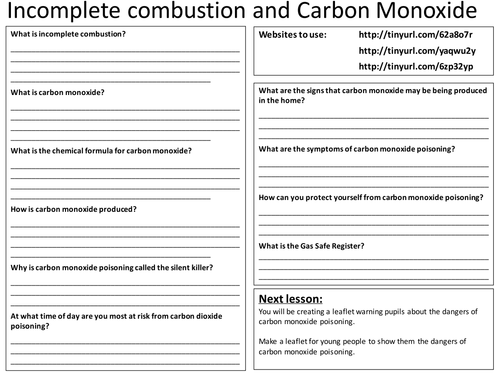 incomplete combustion carbon monoxide worksheet by cmacfarlane teaching resources tes. Black Bedroom Furniture Sets. Home Design Ideas