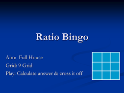 Maths Ratio Bingo Game - PowerPoint