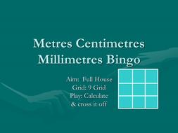 metres centimetres mm  bingo.ppt
