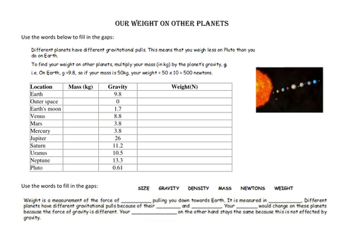 Mass and weight on other planets by ameliepira Teaching – Mass and Weight Worksheet