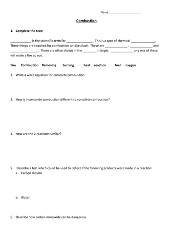 Combustion Worksheet By Edp10ch Teaching Resources Tes