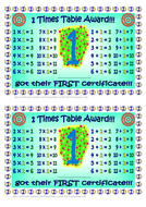 Times Tables Multuplication/Division Certificates