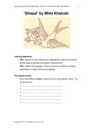 'Ghazal' by Mimi Khalvati - Teaching Resources