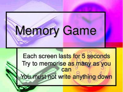 Good starter or thinking skills activity ks2 ks3 for Memory game template for powerpoint