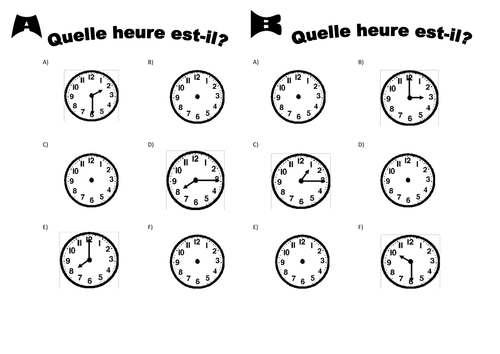 Lheure time in French by anon874 Teaching Resources Tes – Free French Worksheets
