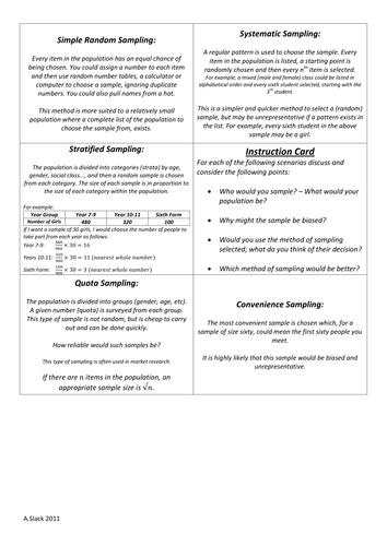Sampling Resources | Tes