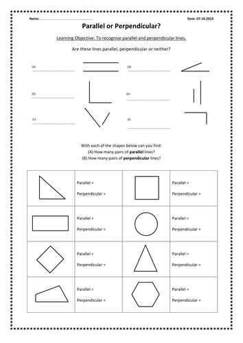 Worksheets Geometry Parallel And Perpendicular Lines Worksheet parallel and perpendicular lines by kimberley lloyd teaching resources tes