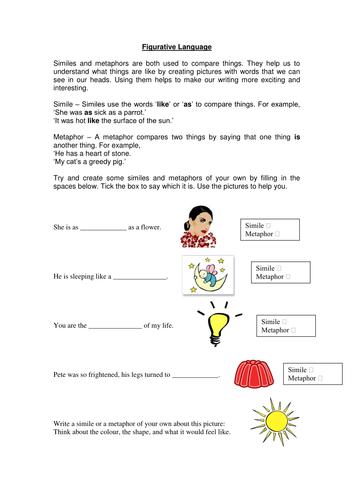 all worksheets simile and metaphor worksheets printable worksheets guide for children and. Black Bedroom Furniture Sets. Home Design Ideas