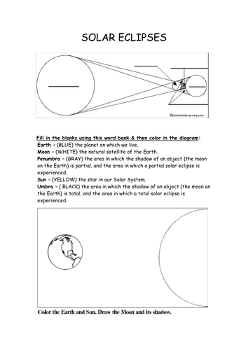Sun earth moon and solar eclipse resources by for Solar eclipse coloring page