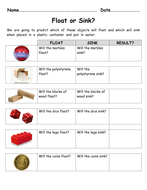 Forces. Float or Sink? worksheet for investigation by alexabennett ...