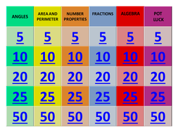 Maths revision: Geometry jeopardy - game