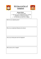 Letter of Complaint Planning Frame