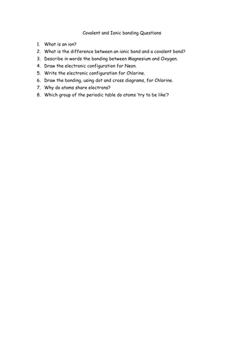 Ionic and Covalent Bonding by jechr - Teaching Resources - TES